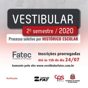 Inscrições prorrogadas para o Vestibular FATEC