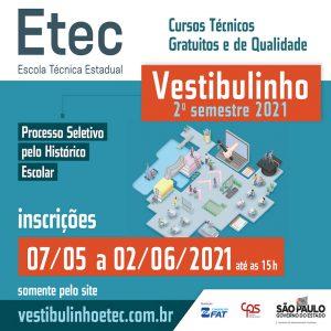 Vestibulinho das Escolas Técnicas Estaduais (Etecs)- 2º Semestre de 2021